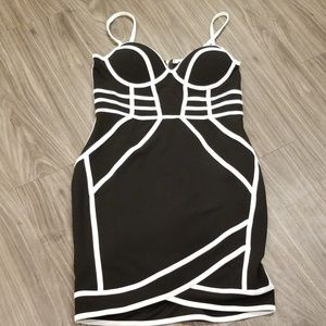 Black and white cage dress